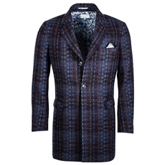 Giordano Shortie Overcoat  - Navy Check