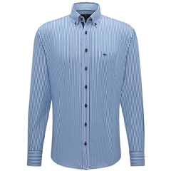 Fynch Hatton Supersoft Cotton Shirt - Blue Stripe