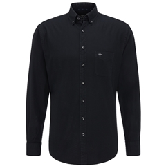 Fynch Hatton Soft Garment Dyed Cotton Shirt - Black