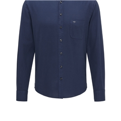 Fynch Hatton Soft Garment Dyed Cotton Shirt - Navy