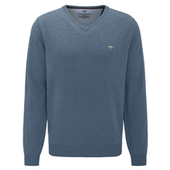 Fynch Hatton Wool & Cashmere Vee Neck - Glacier