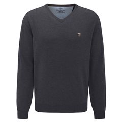 Fynch Hatton Wool & Cashmere Vee Neck - Charcoal