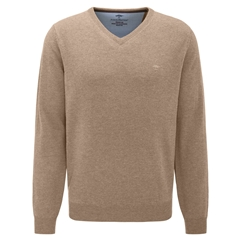 Fynch Hatton Wool & Cashmere Vee Neck - Dune