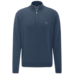Fynch Hatton Wool & Cashmere Zip Neck - Glacier Blue
