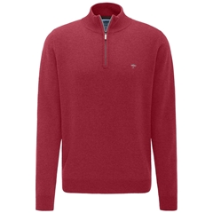 Fynch Hatton Wool & Cashmere Zip Neck - Scarlet
