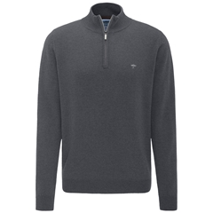 Fynch Hatton Wool & Cashmere Zip Neck - Ashgrey