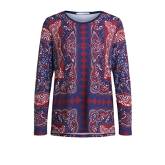 Oui Oriental Print Blouse - Red/Blue
