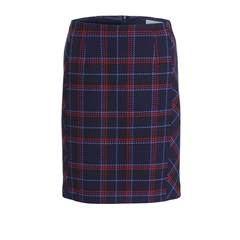 Oui Checked Skirt - Navy