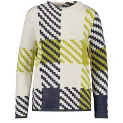 Gerry Weber Abstract Check Jumper - Cloud/Lime