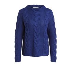 Oui Cable Knit Jumper - Navy