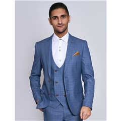 Marc Darcy George 3 Piece Men's Suit - Light Blue Check