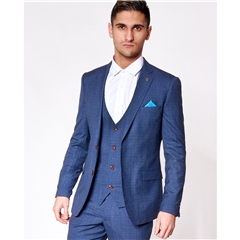 Marc Darcy George 3 Piece Men's Suit - Royal Blue Check