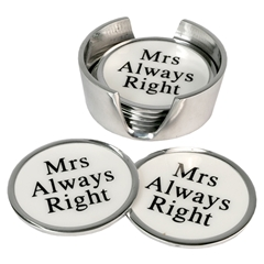 Aluminium Set Of 6 Coasters Mrs Always Right