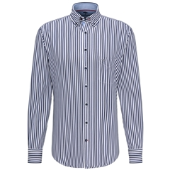 Fynch Hatton Premium Cotton Shirt - Navy Stripe