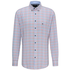 Fynch Hatton Supersoft Cotton Shirt - Aqua Mandarin