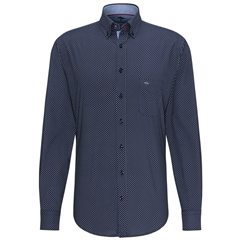 Fynch Hatton Premium Cotton Shirt - Navy Print