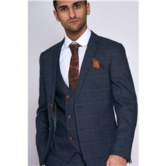 Marc Darcy Jenson 3 Piece Men's Suit - Marine Navy Check