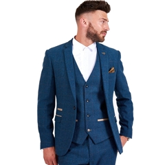 Marc Darcy Dion 3 Piece Men's Blue Check Tweed Suit
