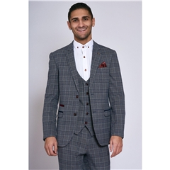 Marc Darcy Enzo 3 Piece Men's Suit - Blue Grey