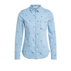 New 2020 Oui Hearts Denim Shirt - Light Blue