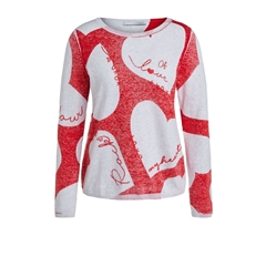 New 2020 Oui Fine Knit Jumper With Hearts - Red
