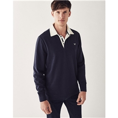 Crew Long Sleeve Rugby Shirt - Navy