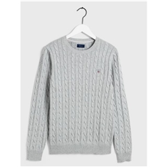 New 2020  Gant Cotton Cable Crew Neck Sweater - Light Grey Melange