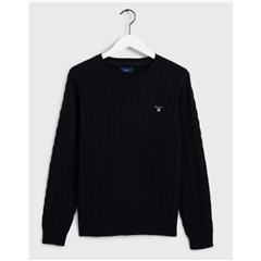 New 2020  Gant Cotton Cable Crew Neck Sweater - Evening Blue