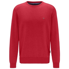 Fynch Hatton Superfine Cotton Crew Neck Sweater - Sangria