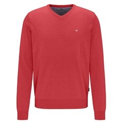 Fynch Hatton Superfine Cotton V-Neck Sweater - Watermelon