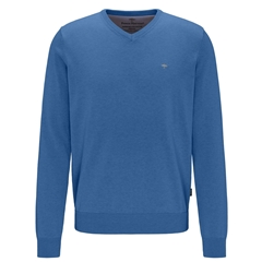 Fynch Hatton Superfine Cotton V-Neck Sweater - Azure