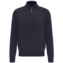 Fynch Hatton Cotton Half Zip Sweater - Navy