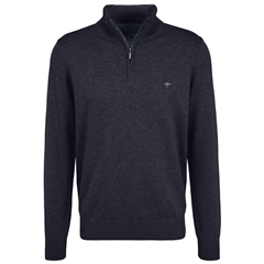 New 2021 Fynch Hatton Cotton Half Zip Sweater - Navy
