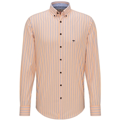 New 2020 Fynch Hatton Premium Soft Cotton Shirt - Orange Blue