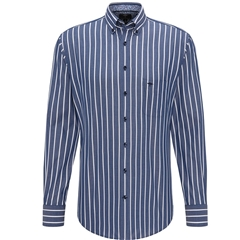 Fynch Hatton Premium Soft Cotton Shirt - Royal Blue White