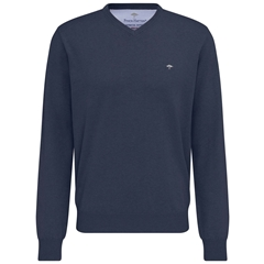 New 2020 Fynch Hatton Superfine Cotton V-Neck Sweater - Night