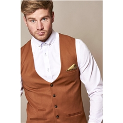 Marc Darcy Kelly Single Breasted Waistcoat - Dark Tan