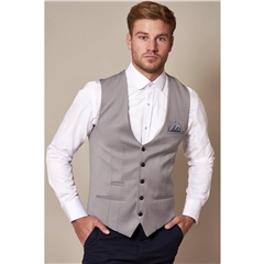 Marc Darcy Kelly Single Breasted Waistcoat - Silver Grey
