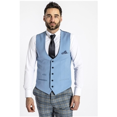 Marc Darcy Kelly Single Breasted Waistcoat - Sky