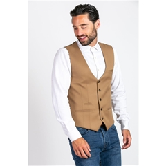 Marc Darcy Kelly Single Breasted Waistcoat - Tan