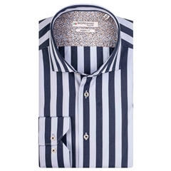 Giordano Shirt - Navy Sky Block Stripe