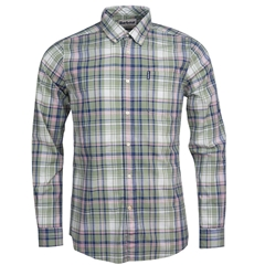 New 2020 Barbour Men's Madras 6 Tailored Fit Shirt - Olive
