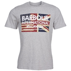 New 2020 Barbour International Men's Steve McQueen Vintage Flag T-Shirt - Grey Marl