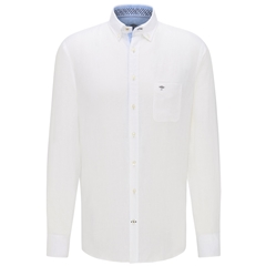New 2020 Fynch Hatton Long Sleeve Linen Shirt - White