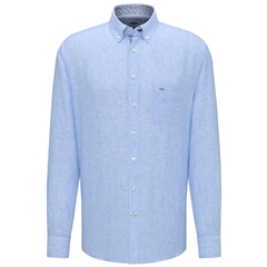 New 2020 Fynch Hatton Long Sleeve Linen Shirt - Blue