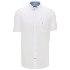 New 2020 Fynch Hatton Short Sleeve Linen Shirt - White
