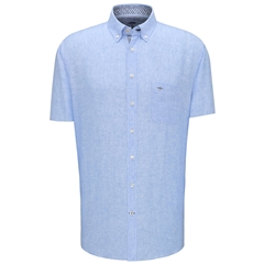 New 2020 Fynch Hatton Short Sleeve Linen Shirt - Blue