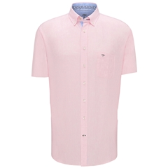 New 2020 Fynch Hatton Short Sleeve Linen Shirt - Rose