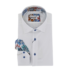 Giordano Long Sleeve Shirt - White Contrast Collar