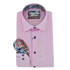 New 2020 Giordano Long Sleeve Shirt - Pink Contrast Collar